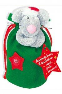 Sprechender Geschenksack - Weihnachtsmaus (grün)