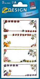 Schmucketiketten Früchte und Blumen