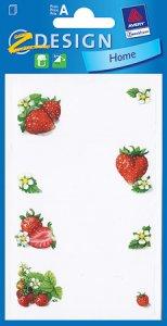 Schmucketiketten Erdbeeren und Blüte
