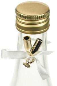 Deko-Sektgläser gold mit weißer Schleife - 24er Pack