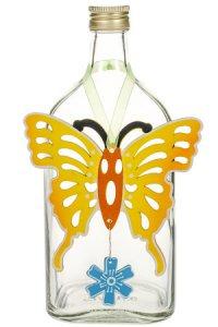 Anhänger Schmetterling gelb mit blauer Blume