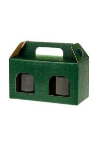 Gläserkarton 2er 140 x 70 x 80 mm grün