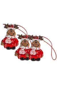 Weihnachtsanhänger Elch aus Steinharz - 3er Pack