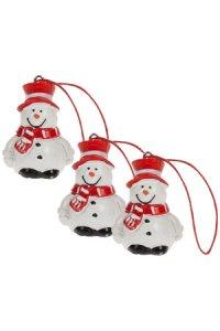 Weihnachtsanhänger Schneemann aus Steinharz - 3er Pack