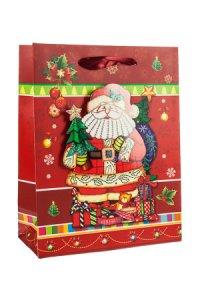 3D Geschenktüte Santa Claus, 18 x 8,5 x 23 cm