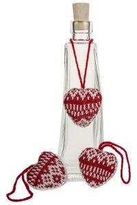 Deko-Anhänger Strick-Herz rot/weiß - 3er Pack