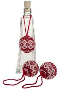 Deko-Anhänger Strick-Kugel rot/weiß - 3er Pack