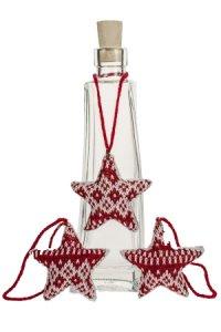 Deko-Anhänger Strick-Stern rot/weiß - 3er Pack