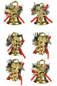 Deko-Anhänger Engel auf Glocke gold - 6er Set