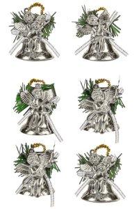 Deko-Anhänger Engel auf Glocke silber - 6er Set