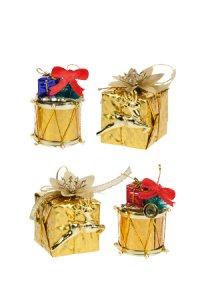 Deko-Anhänger Geschenk und Trommel gold - 4er Set