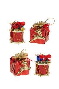 Deko-Anhänger Geschenk und Trommel rot - 4er Set