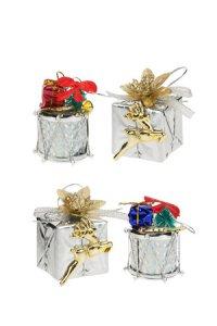 Deko-Anhänger Geschenk und Trommel silber - 4er Set