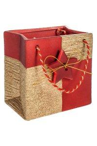 Deko-Geschenktasche rot/gold