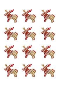 Stoff-Sticker Elch rot kariert - 12er Pack
