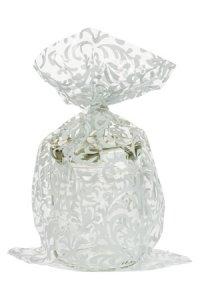 Schmuckbeutel Brokat weiß 15 x 25 cm - 10er Pack