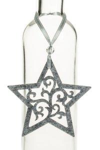 Weihnachtsanhänger Stern mit großen Ornamenten grau
