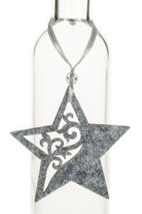 Weihnachtsanhänger Stern mit kleinen Ornamenten grau