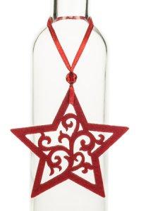 Weihnachtsanhänger Stern mit großen Ornamenten rot