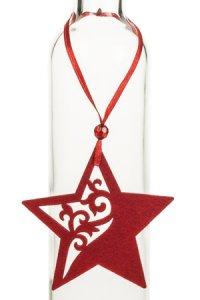 Weihnachtsanhänger Stern mit kleinen Ornamenten rot