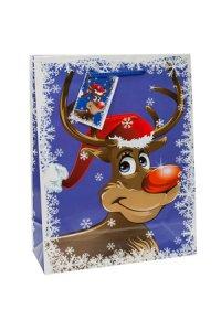 Geschenktasche Rudolph blau  mittel
