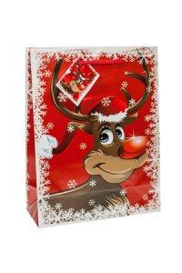 Geschenktasche Rudolph rot  mittel