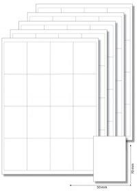 Etiketten 50 x 70 mm weiß - 5 Blatt A4