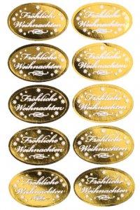 Deko-Aufkleber Fröhliche Weihnachten gold oval