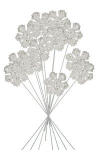 Glitterflocke am Stiel weiß - 12er Pack
