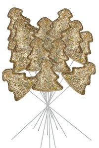 Glittertanne am Stiel gold - 12er Pack