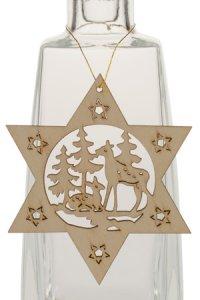 Weihnachtsanhänger Stern mit Rehen im Wald