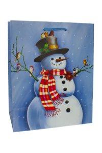 Geschenktasche Schneemann hellblau