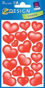 Aufkleber Füllige Herzen beglimmert