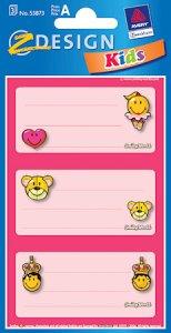 Etiketten Smileys auf rosa Hintergrund