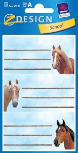 Etiketten Pferde vor himmelblauem Himmel