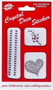 Glitzer-Sticker Herz und Blume silber