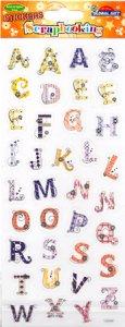Transparent-Sticker Großes Alphabet mit Streifen und Karos