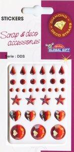 Diamant-Sticker Tropfen, Herzen und Sterne rot