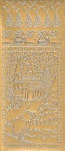 Sticker Winterfenster Spatz gold
