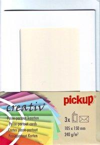 Passepartout-Karten mit runden Ecken weiß - 3er Set
