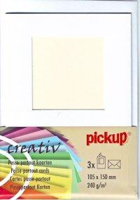 Passepartout-Karten eckig weiß - 3er Set