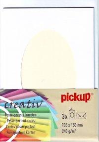 Passepartout-Karten oval weiß - 3er Set