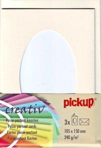 Passepartout-Karten oval elfenbein - 3er Set