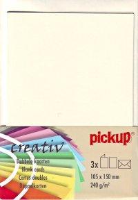 Doppelkarten elfenbein - 3er Set
