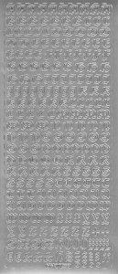 Sticker Antikes Alphabet in Großbuchstaben silber