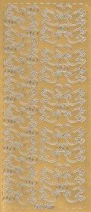 Sticker Tauben mit Herzen und Ringen gold