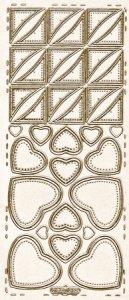 Sticker zum Besticken Herzen und Dreiecke gold beglimmert