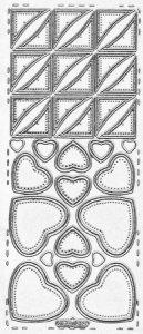 Sticker zum Besticken Herzen und Dreiecke silber beglimmert