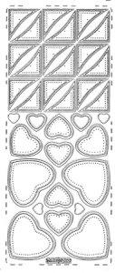 Sticker zum Besticken Herzen und Dreiecke silber
