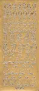 Sticker Lustige Zahlen gold